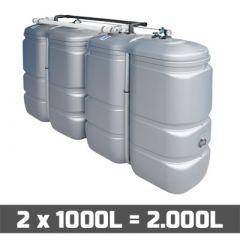 Cuve fuel PE: 2 x 1000L (=2000L) UV résist - jumelage longueur