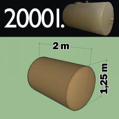 Cuve fioul à enterrer en acier de 2000 litres