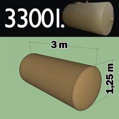 Cuve fioul à enterrer en acier de 3300 litres