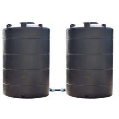 Citerne eau aérienne ronde - 2 x 3000 litres - jumelées (Ø 1,40 m)